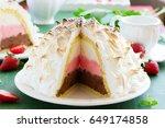 sponge cake alaska ice cream... | Shutterstock . vector #649174858