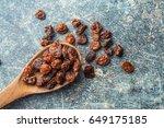 Sweet Dried Raisins In Wooden...