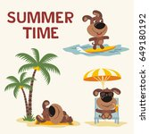Summer Time. Set Funny Puppy...