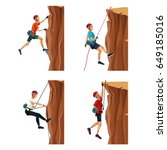 set scene men climbing on a... | Shutterstock .eps vector #649185016