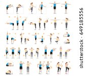 man and woman workout fitness ... | Shutterstock .eps vector #649185556