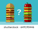 big fast food sandwich and big... | Shutterstock .eps vector #649190446