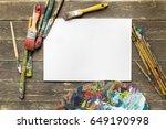 drawing tools in art studio.... | Shutterstock . vector #649190998