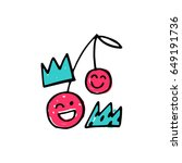 pink cherries and crowns.... | Shutterstock .eps vector #649191736