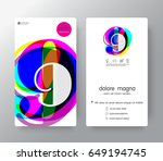 logo number 9 business card... | Shutterstock .eps vector #649194745
