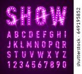 bulb lamp neon letters abc... | Shutterstock .eps vector #649195852