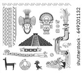 vector set of symbols  patterns ... | Shutterstock .eps vector #649201132
