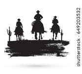 Grunge Banner  Silhouette Of...