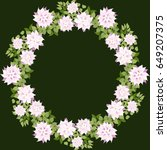 floral round frames from cute... | Shutterstock . vector #649207375