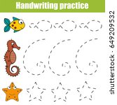 handwriting practice sheet.... | Shutterstock .eps vector #649209532