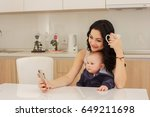 young mother and her son play...   Shutterstock . vector #649211698
