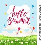 hello summer quote. summer or... | Shutterstock .eps vector #649220026