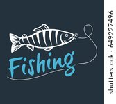 fishing logo isolated on a dark ... | Shutterstock . vector #649227496