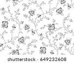 seamless black and white floral ... | Shutterstock .eps vector #649232608