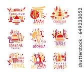 travel logo. thailand  japan ... | Shutterstock .eps vector #649233052