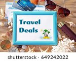frame with text travel deals... | Shutterstock . vector #649242022