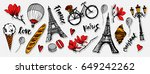 paris symbols stickers set.... | Shutterstock .eps vector #649242262