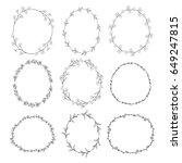 set of 9 black doodle hand... | Shutterstock .eps vector #649247815