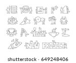 cartoon set of sketch little... | Shutterstock .eps vector #649248406