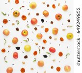 fruit pattern of apples on a... | Shutterstock . vector #649249852