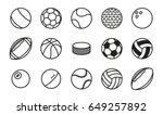 sports balls minimal flat line... | Shutterstock .eps vector #649257892