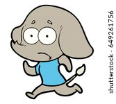 cartoon unsure elephant running ...   Shutterstock .eps vector #649261756