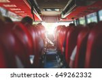 view from back seat in a bus.... | Shutterstock . vector #649262332