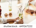young girls drinking cocktails... | Shutterstock . vector #649267222
