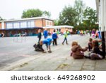 blurred of children play and... | Shutterstock . vector #649268902