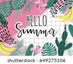 summer hello poster with banana ... | Shutterstock .eps vector #649275106