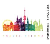 vienna skyline. vector... | Shutterstock .eps vector #649276156