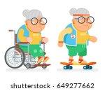 granny wheelchair sports... | Shutterstock .eps vector #649277662