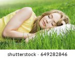 young woman sleeping on white...   Shutterstock . vector #649282846