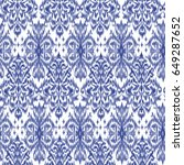 blue ikat ogee and damascus... | Shutterstock .eps vector #649287652