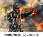 bearded soldier of special... | Shutterstock . vector #649288978