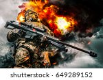 army sniper of special forces... | Shutterstock . vector #649289152