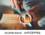 closeup image of male hands... | Shutterstock . vector #649289986