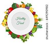 fresh organic food.set of... | Shutterstock .eps vector #649290982