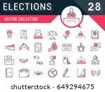 set vector line icons in flat... | Shutterstock .eps vector #649294675
