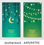 selamat hari raya aidilfitri... | Shutterstock .eps vector #649294792