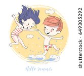 girl and the boy go swimming.... | Shutterstock .eps vector #649305292