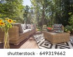 cozy terrace with rattan... | Shutterstock . vector #649319662