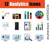 flat design analytics icon set...