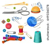 set of accessories for sewing... | Shutterstock .eps vector #649336078