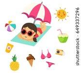 summer beach set vector... | Shutterstock .eps vector #649337296