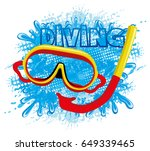 mask of a diver. | Shutterstock .eps vector #649339465