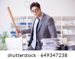 angry aggressive businessman in ... | Shutterstock . vector #649347238