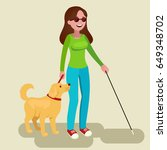 girl disabled and guide dog.... | Shutterstock .eps vector #649348702