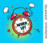background with red comic alarm ... | Shutterstock .eps vector #649349782