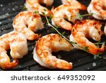 grilled tiger shrimps on grill... | Shutterstock . vector #649352092
